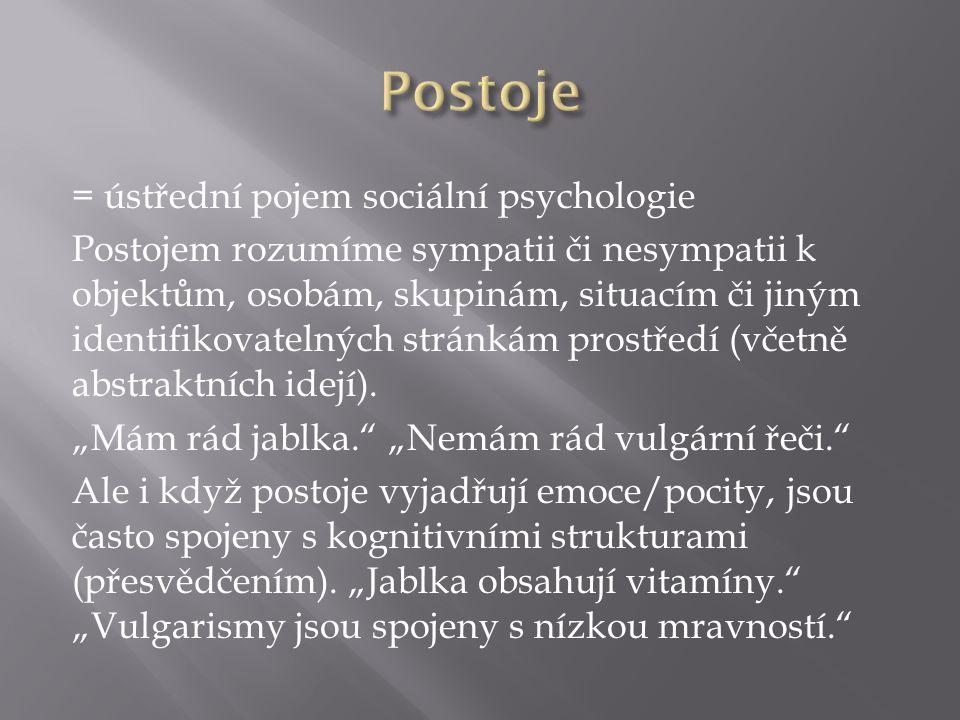 = ústřední pojem sociální psychologie Postojem rozumíme sympatii či nesympatii k objektům, osobám, skupinám, situacím či jiným identifikovatelných stránkám prostředí (včetně abstraktních idejí).
