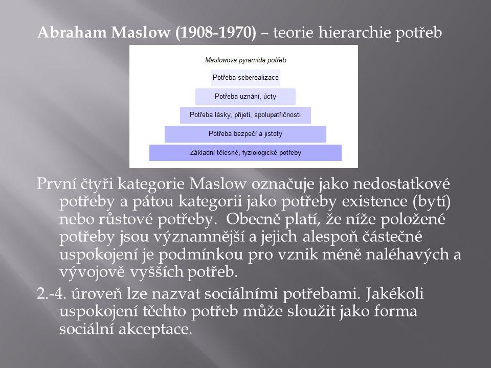 Abraham Maslow (1908-1970) – teorie hierarchie potřeb První čtyři kategorie Maslow označuje jako nedostatkové potřeby a pátou kategorii jako potřeby existence (bytí) nebo růstové potřeby.