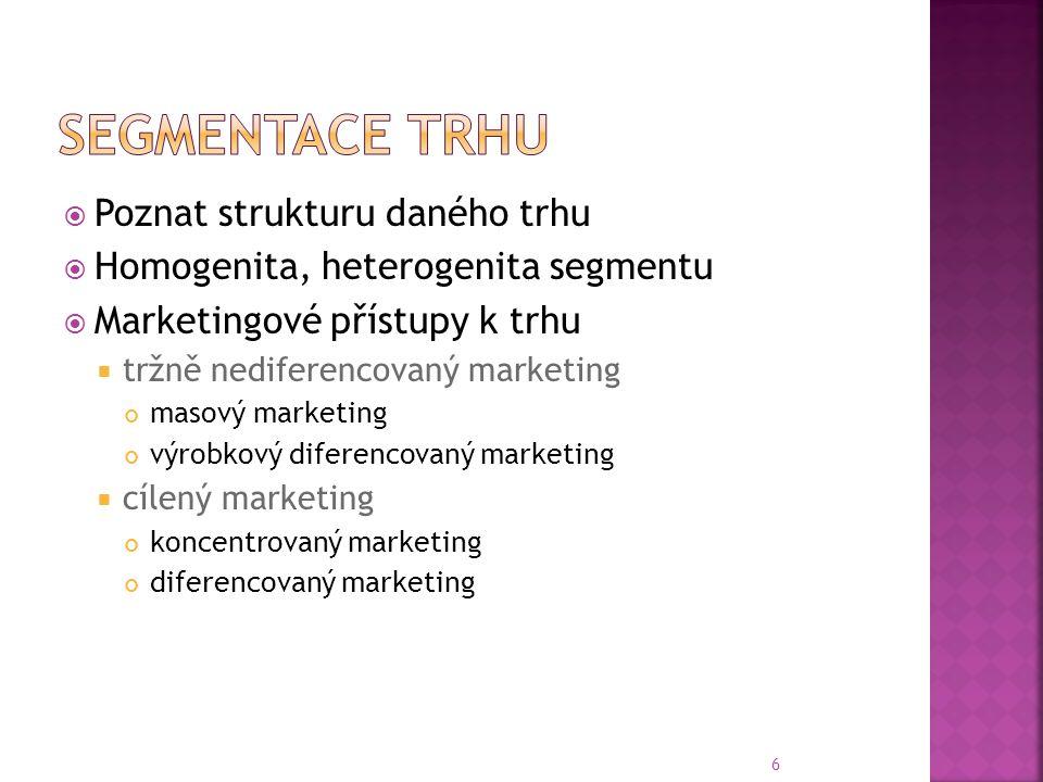  Poznat strukturu daného trhu  Homogenita, heterogenita segmentu  Marketingové přístupy k trhu  tržně nediferencovaný marketing masový marketing výrobkový diferencovaný marketing  cílený marketing koncentrovaný marketing diferencovaný marketing 6