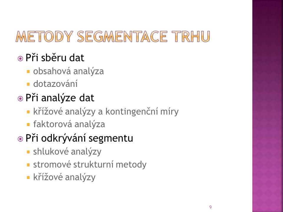  Při sběru dat  obsahová analýza  dotazování  Při analýze dat  křížové analýzy a kontingenční míry  faktorová analýza  Při odkrývání segmentu  shlukové analýzy  stromové strukturní metody  křížové analýzy 9