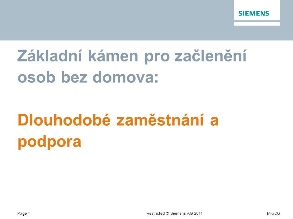 Page 4Restricted © Siemens AG 2014MK/CG Základní kámen pro začlenění osob bez domova: Dlouhodobé zaměstnání a podpora