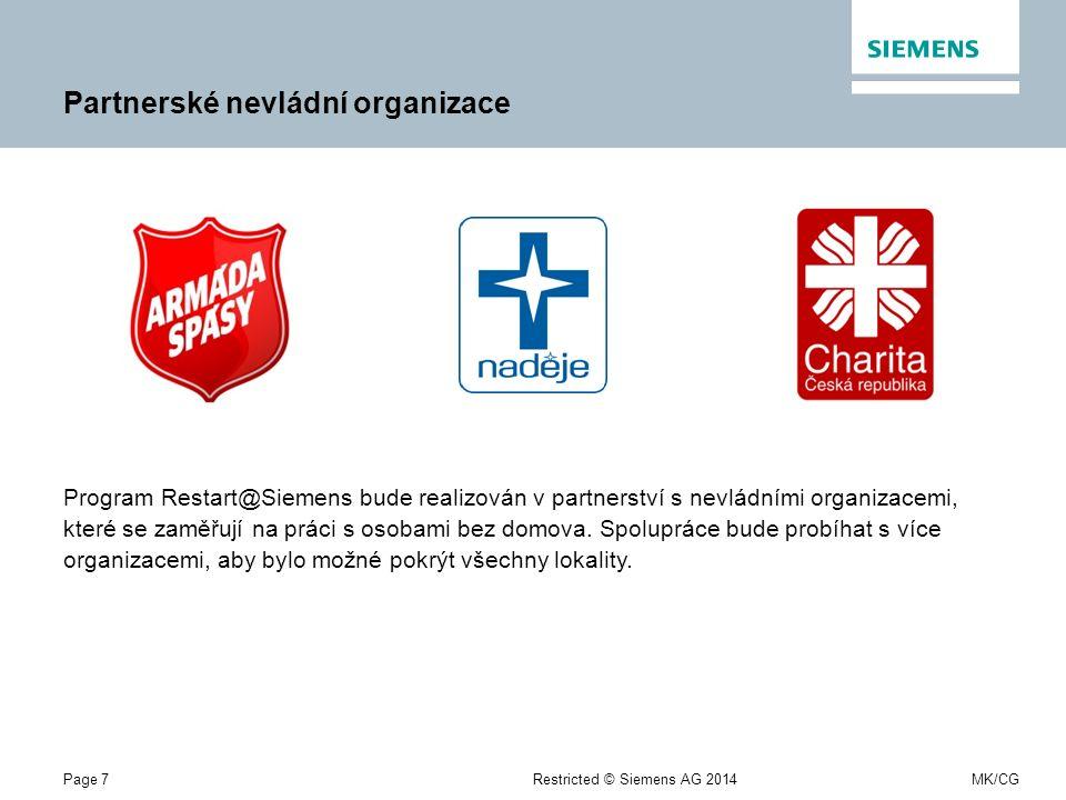 Page 7Restricted © Siemens AG 2014MK/CG Partnerské nevládní organizace Program Restart@Siemens bude realizován v partnerství s nevládními organizacemi, které se zaměřují na práci s osobami bez domova.