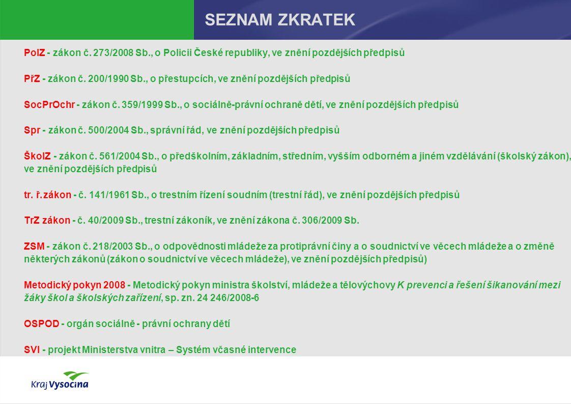 SEZNAM ZKRATEK PolZ - zákon č. 273/2008 Sb., o Policii České republiky, ve znění pozdějších předpisů PřZ- zákon č. 200/1990 Sb., o přestupcích, ve zně
