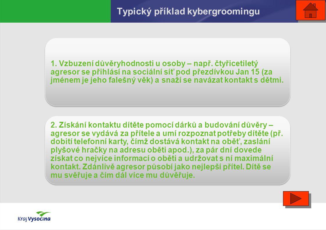 Typický příklad kybergroomingu 1. Vzbuzení důvěryhodnosti u osoby – např. čtyřicetiletý agresor se přihlásí na sociální síť pod přezdívkou Jan 15 (za