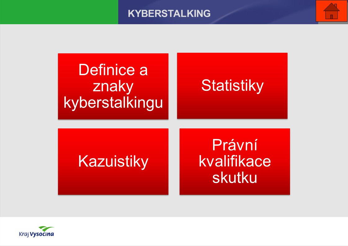 Definice a znaky kyberstalkingu Statistiky Kazuistiky Právní kvalifikace skutku KYBERSTALKING