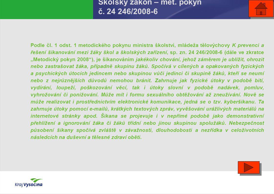 Školský zákon – met. pokyn č. 24 246/2008-6 Podle čl. 1 odst. 1 metodického pokynu ministra školství, mládeža tělovýchovy K prevenci a řešení šikanová