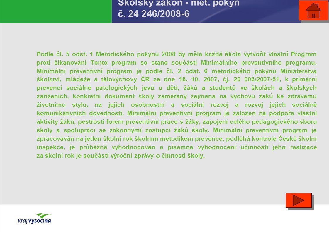 Školský zákon - met. pokyn č. 24 246/2008-6 Podle čl. 5 odst. 1 Metodického pokynu 2008 by měla každá škola vytvořit vlastní Program proti šikanování