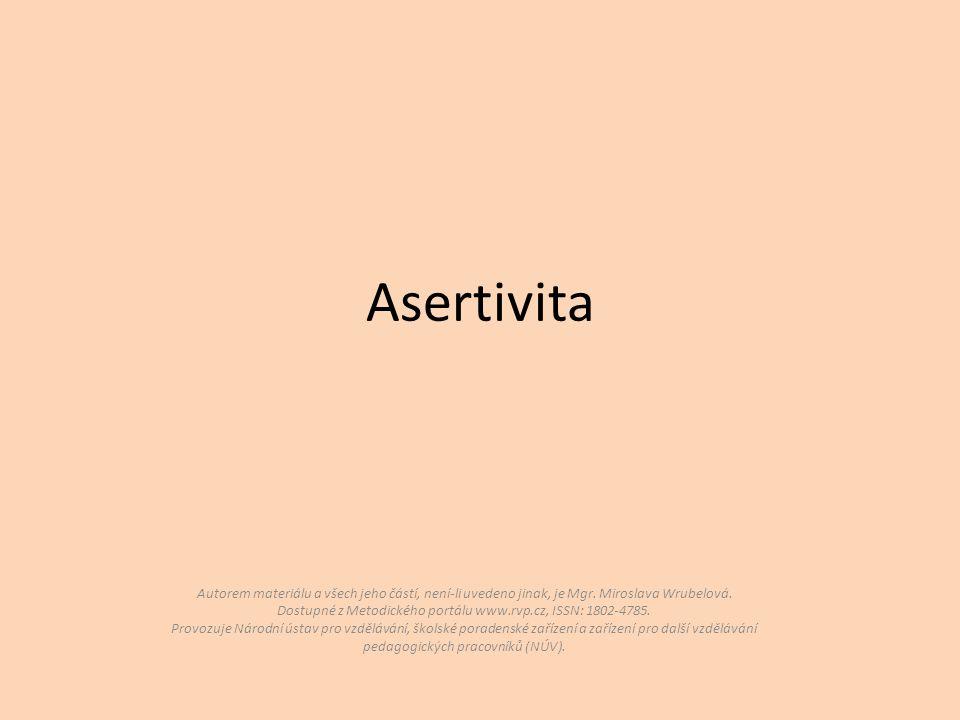 Asertivita Autorem materiálu a všech jeho částí, není-li uvedeno jinak, je Mgr.