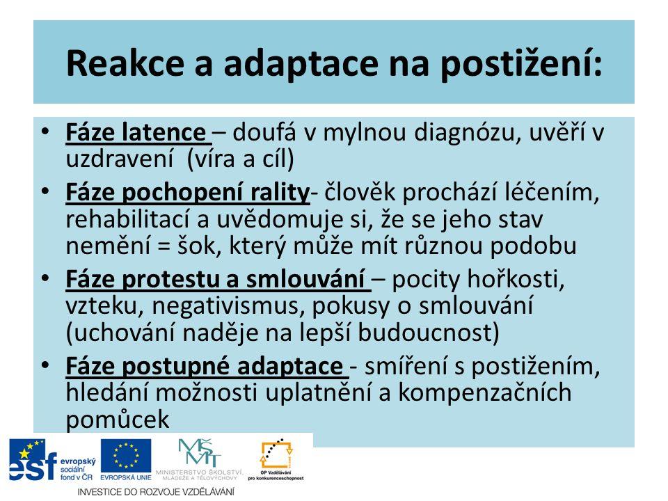 Reakce a adaptace na postižení: Fáze latence – doufá v mylnou diagnózu, uvěří v uzdravení (víra a cíl) Fáze pochopení rality- člověk prochází léčením,