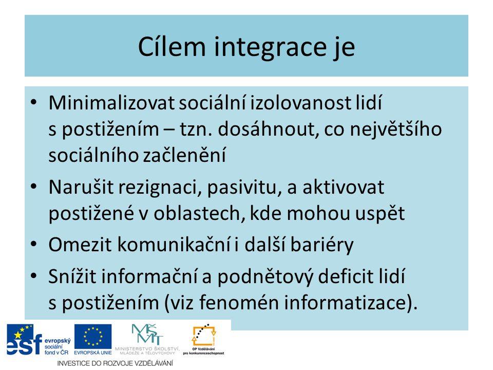 Cílem integrace je Minimalizovat sociální izolovanost lidí s postižením – tzn. dosáhnout, co největšího sociálního začlenění Narušit rezignaci, pasivi