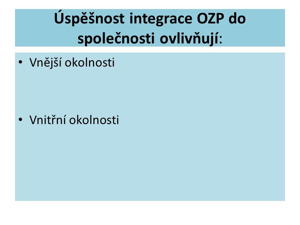 Úspěšnost integrace OZP do společnosti ovlivňují: Vnější okolnosti Vnitřní okolnosti