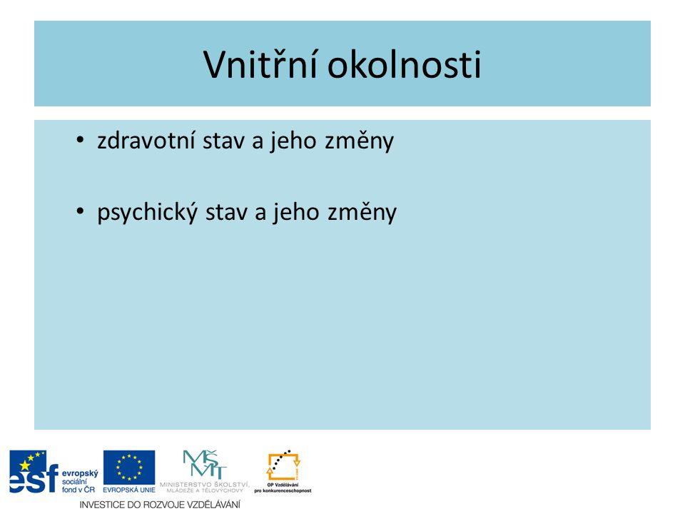 Vnitřní okolnosti zdravotní stav a jeho změny psychický stav a jeho změny