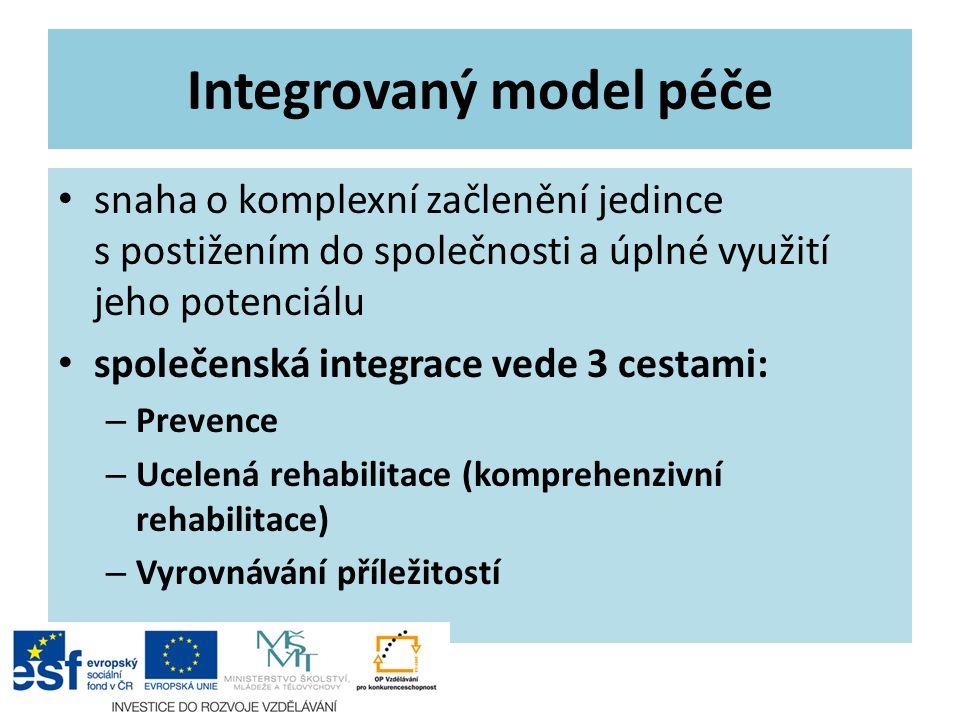 Integrovaný model péče snaha o komplexní začlenění jedince s postižením do společnosti a úplné využití jeho potenciálu společenská integrace vede 3 ce