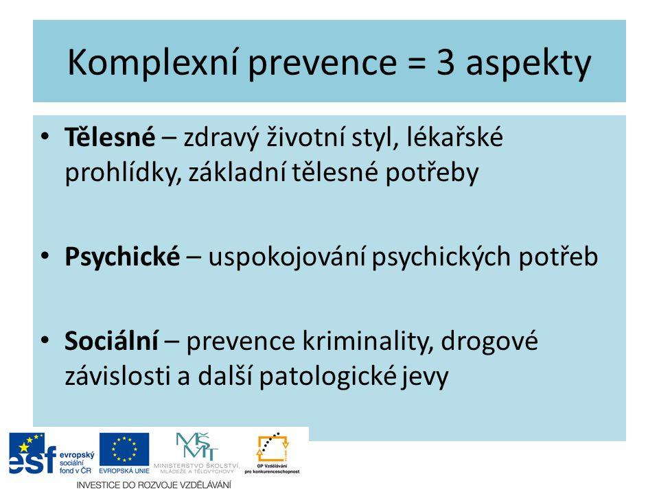 Komplexní prevence = 3 aspekty Tělesné – zdravý životní styl, lékařské prohlídky, základní tělesné potřeby Psychické – uspokojování psychických potřeb