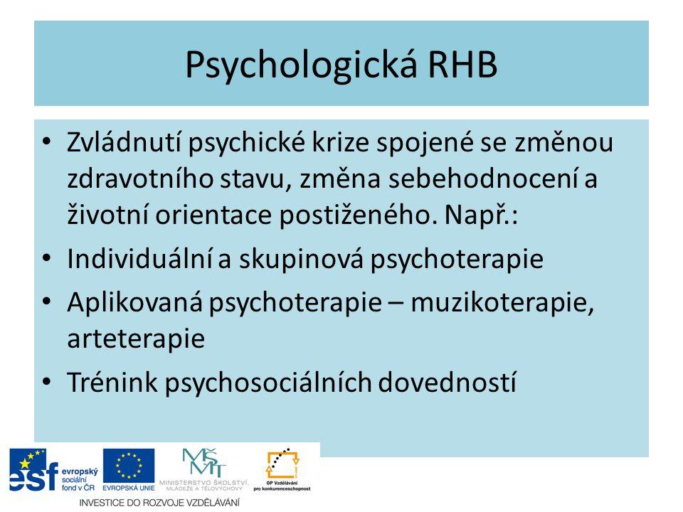 Psychologická RHB Zvládnutí psychické krize spojené se změnou zdravotního stavu, změna sebehodnocení a životní orientace postiženého. Např.: Individuá