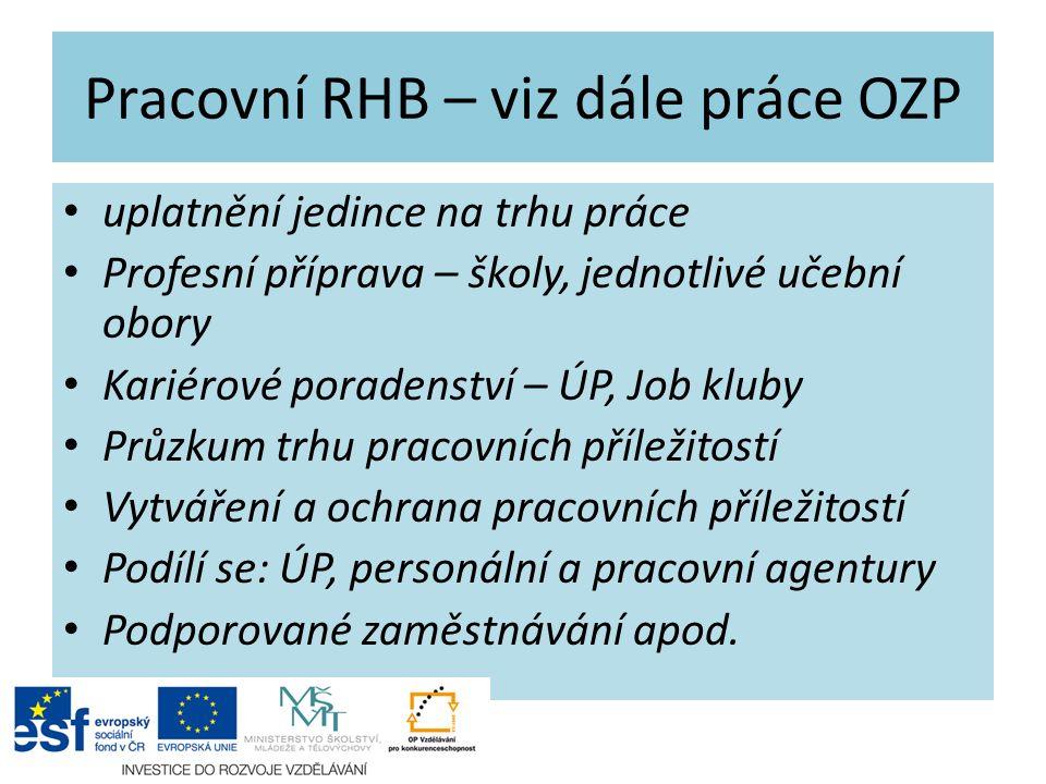 Pracovní RHB – viz dále práce OZP uplatnění jedince na trhu práce Profesní příprava – školy, jednotlivé učební obory Kariérové poradenství – ÚP, Job k