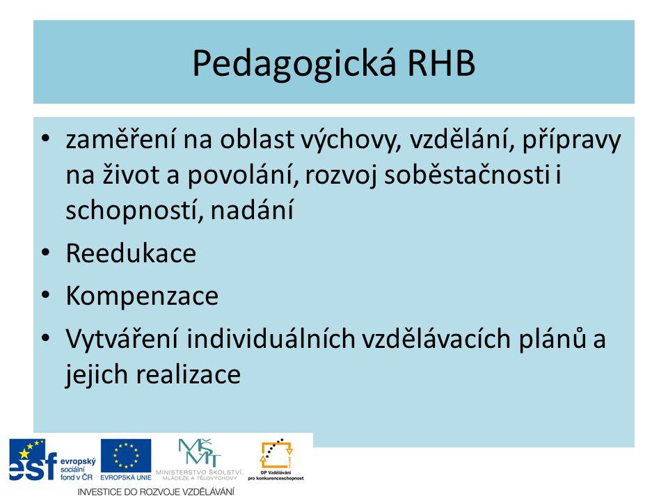 Pedagogická RHB zaměření na oblast výchovy, vzdělání, přípravy na život a povolání, rozvoj soběstačnosti i schopností, nadání Reedukace Kompenzace Vyt