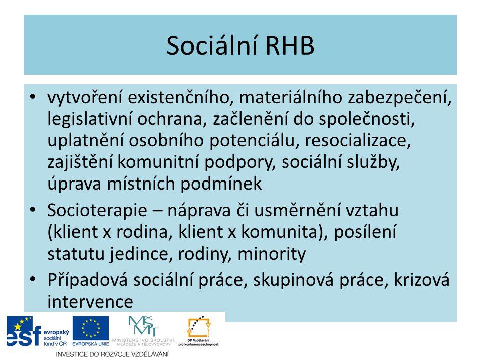 Sociální RHB vytvoření existenčního, materiálního zabezpečení, legislativní ochrana, začlenění do společnosti, uplatnění osobního potenciálu, resocial