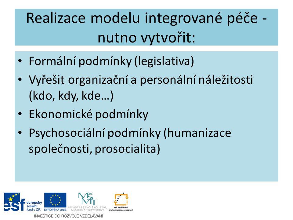 Realizace modelu integrované péče - nutno vytvořit: Formální podmínky (legislativa) Vyřešit organizační a personální náležitosti (kdo, kdy, kde…) Ekon