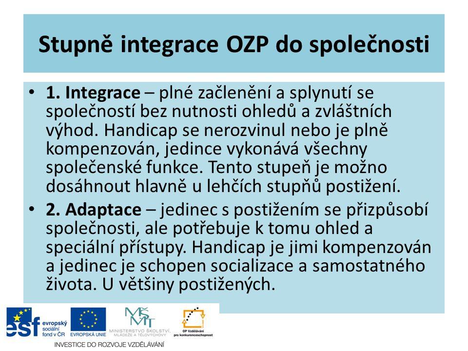 Stupně integrace OZP do společnosti 1. Integrace – plné začlenění a splynutí se společností bez nutnosti ohledů a zvláštních výhod. Handicap se nerozv