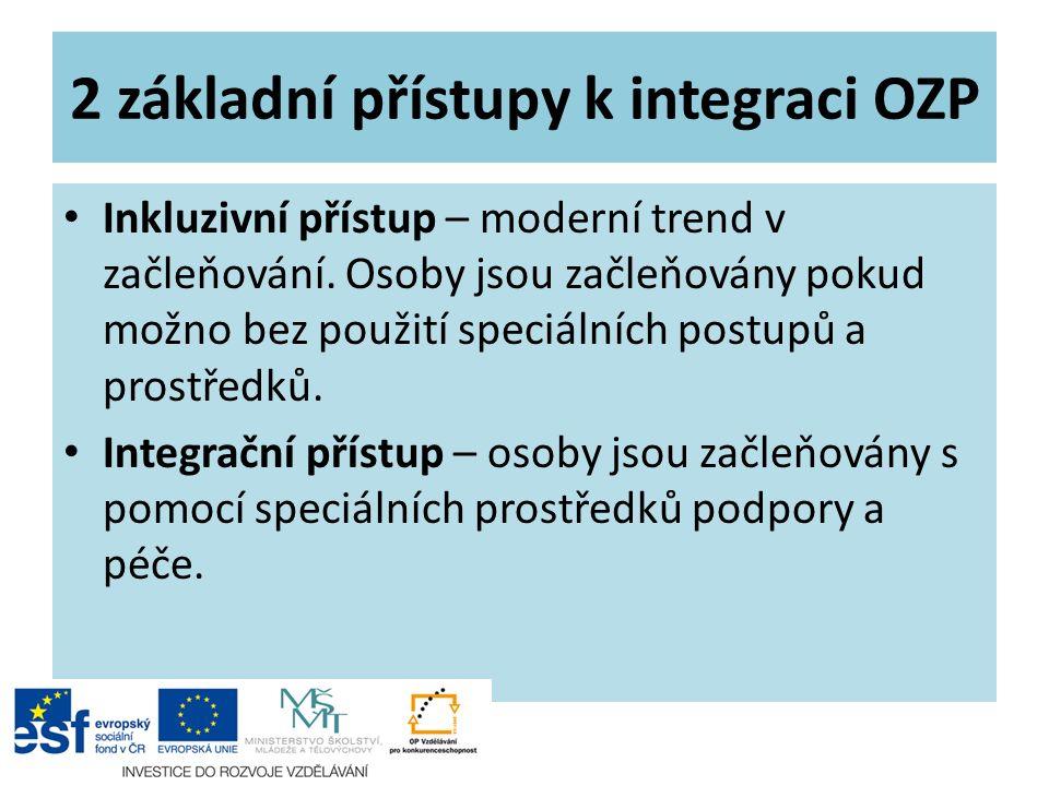2 základní přístupy k integraci OZP Inkluzivní přístup – moderní trend v začleňování. Osoby jsou začleňovány pokud možno bez použití speciálních postu