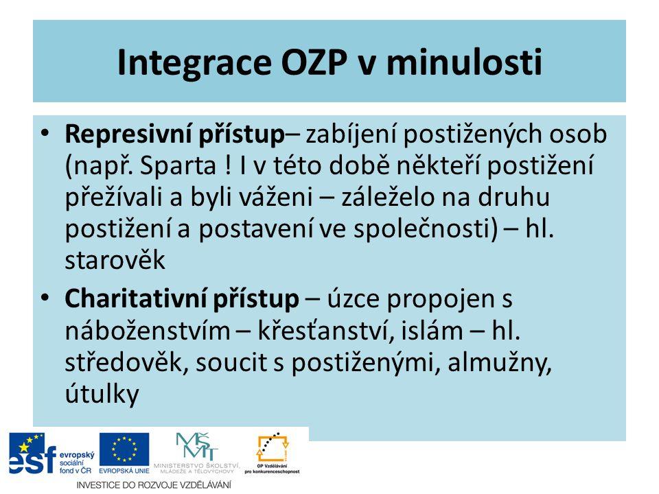 Integrace OZP v minulosti Represivní přístup– zabíjení postižených osob (např. Sparta ! I v této době někteří postižení přežívali a byli váženi – zále