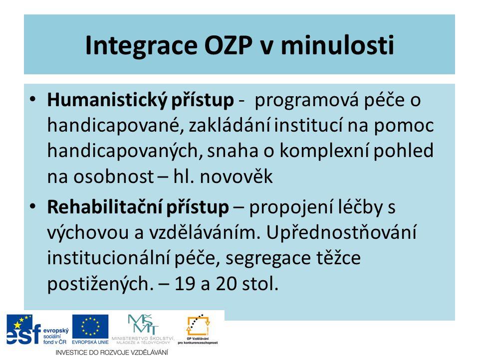 Integrace OZP v minulosti Humanistický přístup - programová péče o handicapované, zakládání institucí na pomoc handicapovaných, snaha o komplexní pohl