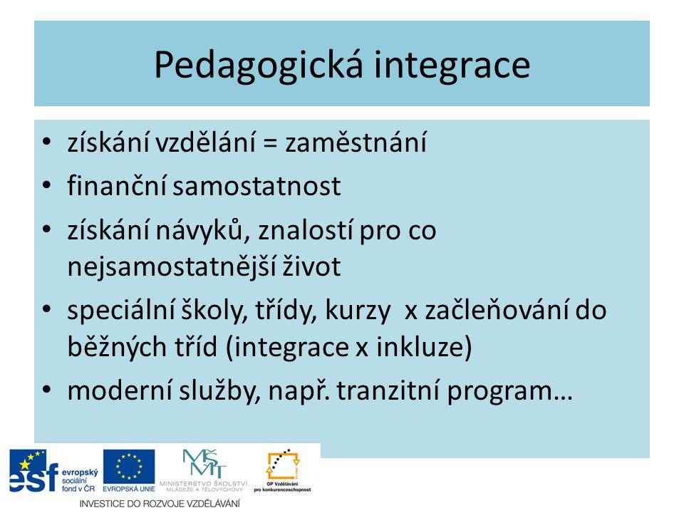 Pedagogická integrace získání vzdělání = zaměstnání finanční samostatnost získání návyků, znalostí pro co nejsamostatnější život speciální školy, tříd