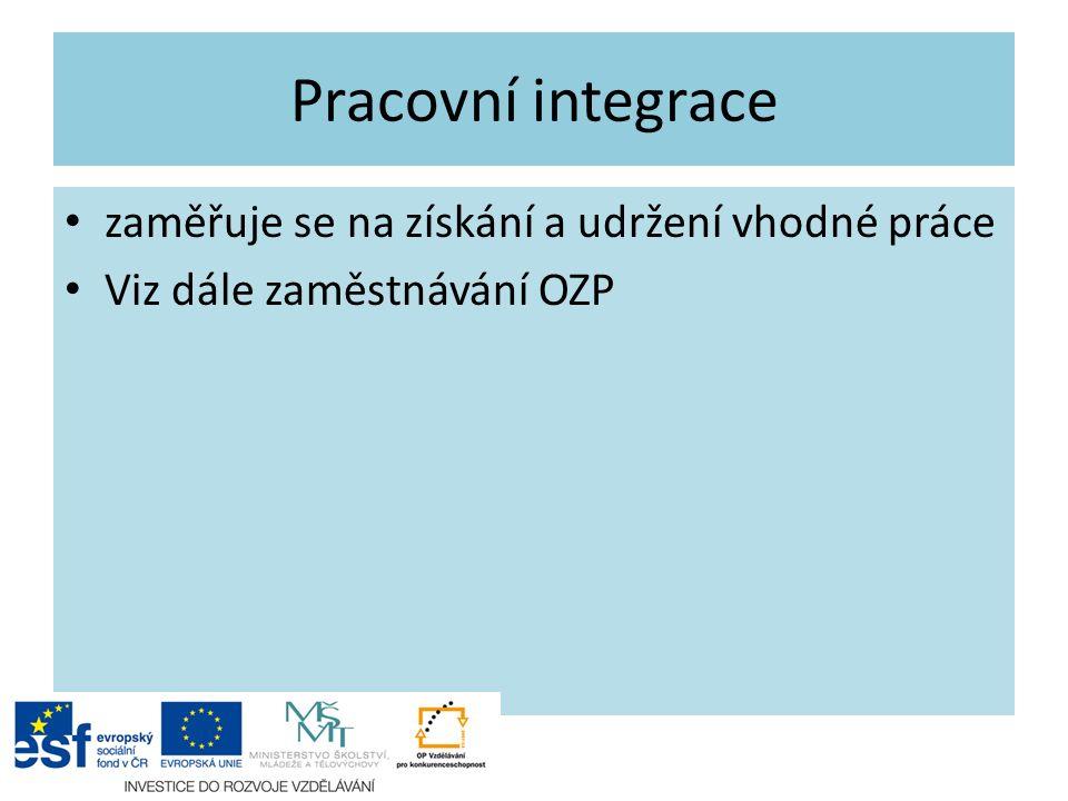 Pracovní integrace zaměřuje se na získání a udržení vhodné práce Viz dále zaměstnávání OZP