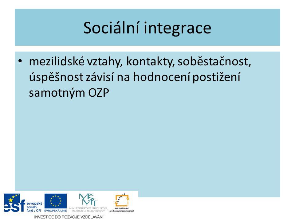 Sociální integrace mezilidské vztahy, kontakty, soběstačnost, úspěšnost závisí na hodnocení postižení samotným OZP