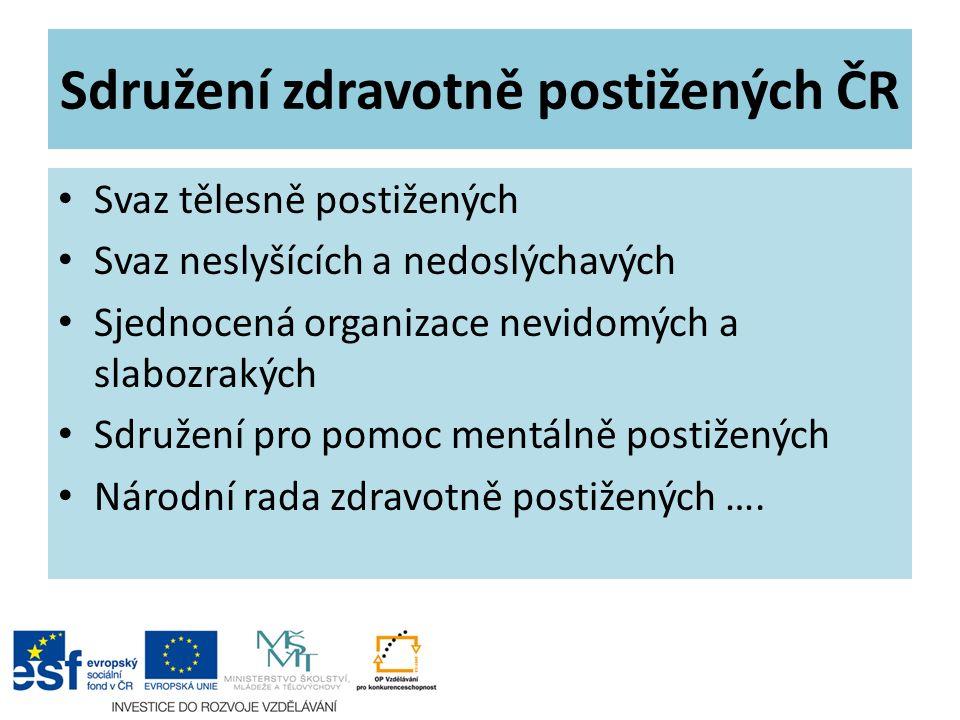 Sdružení zdravotně postižených ČR Svaz tělesně postižených Svaz neslyšících a nedoslýchavých Sjednocená organizace nevidomých a slabozrakých Sdružení