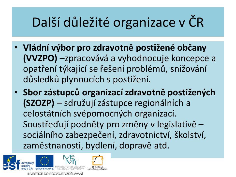 Další důležité organizace v ČR Vládní výbor pro zdravotně postižené občany (VVZPO) –zpracovává a vyhodnocuje koncepce a opatření týkající se řešení pr