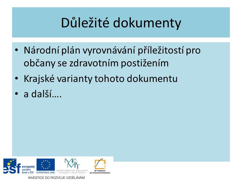 Důležité dokumenty Národní plán vyrovnávání příležitostí pro občany se zdravotním postižením Krajské varianty tohoto dokumentu a další….