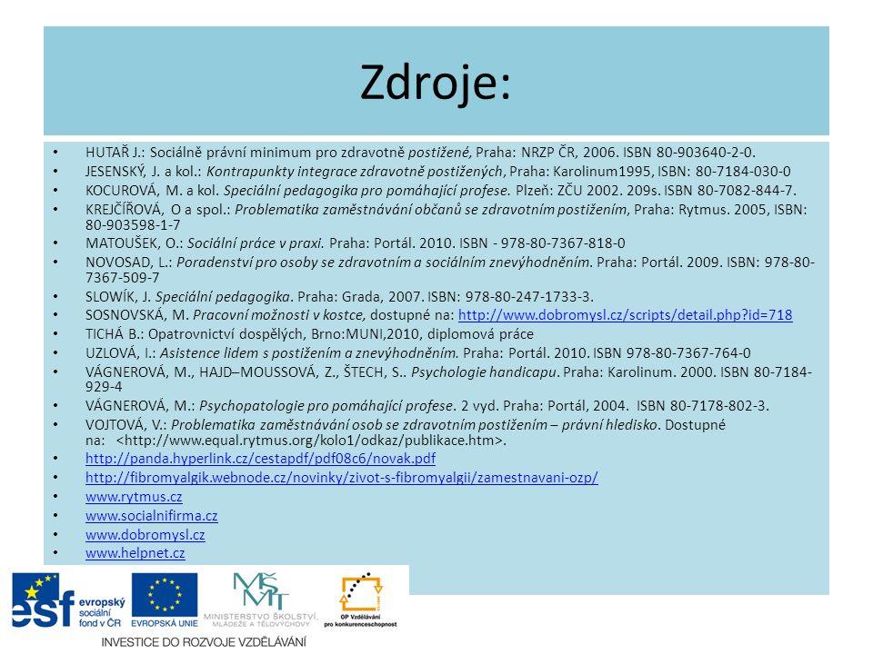 Zdroje: HUTAŘ J.: Sociálně právní minimum pro zdravotně postižené, Praha: NRZP ČR, 2006. ISBN 80-903640-2-0. JESENSKÝ, J. a kol.: Kontrapunkty integra