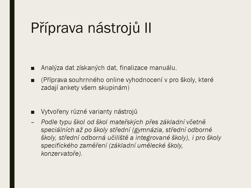 Příprava nástrojů II ■Analýza dat získaných dat, finalizace manuálu.