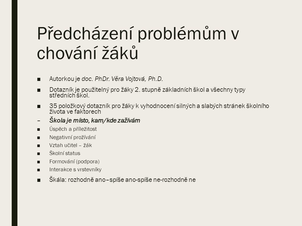Předcházení problémům v chování žáků ■Autorkou je doc.
