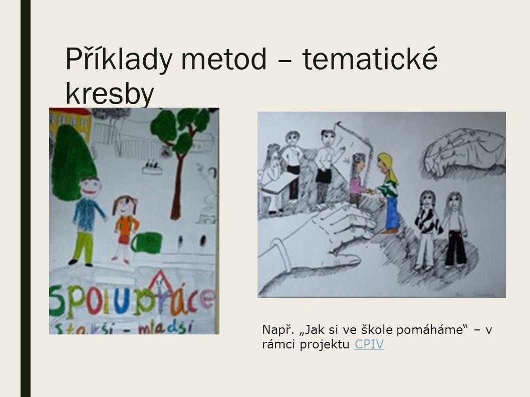 """Příklady metod – tematické kresby Např. """"Jak si ve škole pomáháme – v rámci projektu CPIVCPIV"""