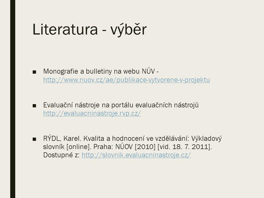 Literatura - výběr ■Monografie a bulletiny na webu NÚV - http://www.nuov.cz/ae/publikace-vytvorene-v-projektu http://www.nuov.cz/ae/publikace-vytvorene-v-projektu ■Evaluační nástroje na portálu evaluačních nástrojů http://evaluacninastroje.rvp.cz/ http://evaluacninastroje.rvp.cz/ ■RÝDL, Karel.