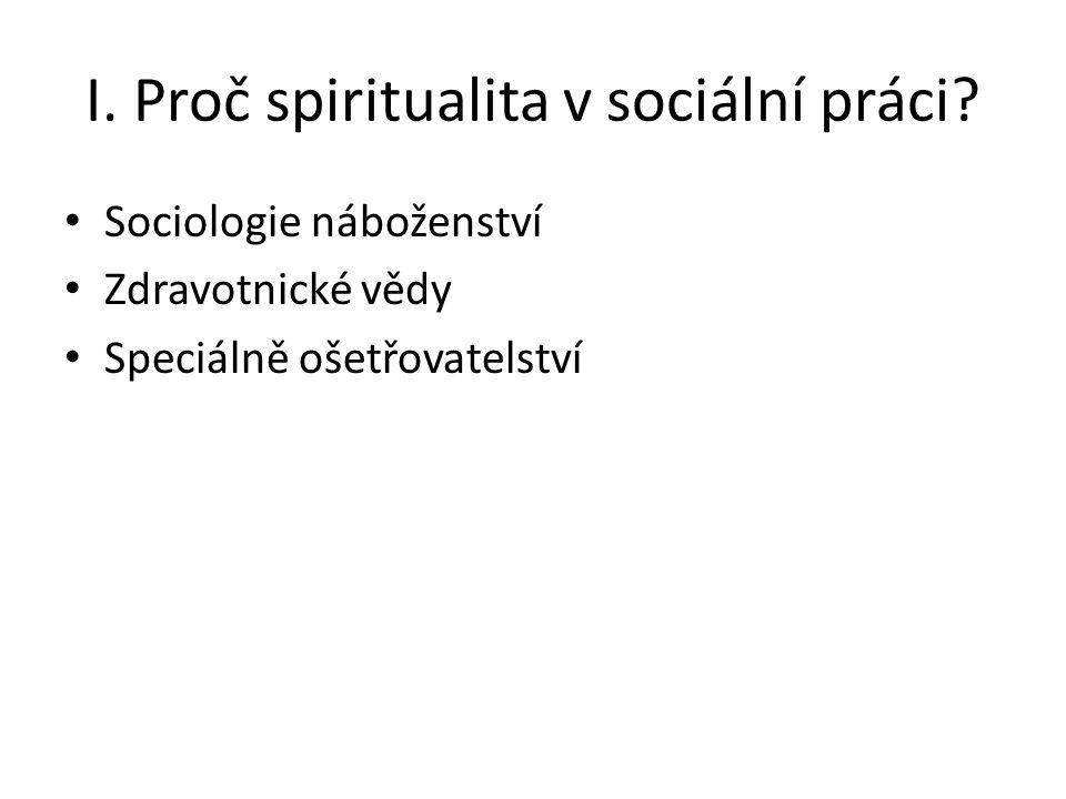 I. Proč spiritualita v sociální práci.