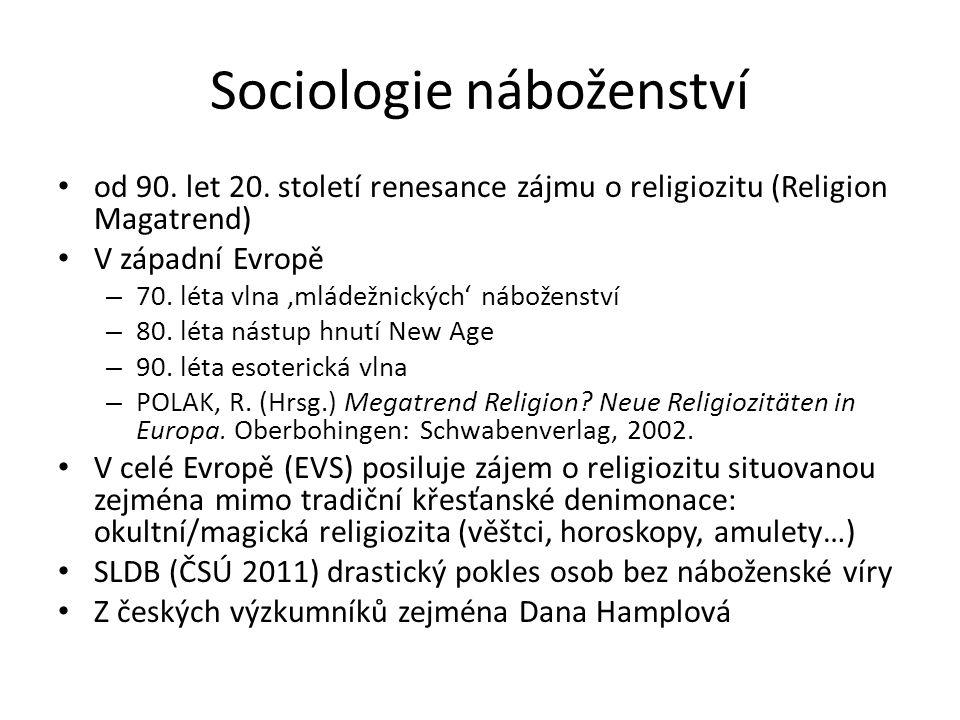 Sociologie náboženství od 90. let 20.