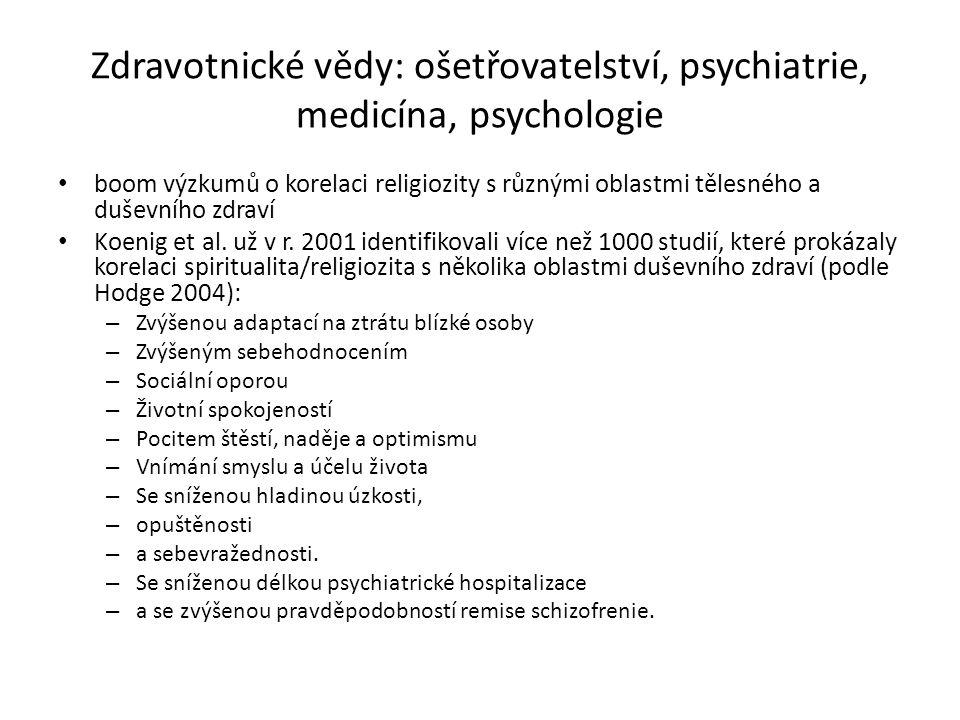 Zdravotnické vědy: ošetřovatelství, psychiatrie, medicína, psychologie boom výzkumů o korelaci religiozity s různými oblastmi tělesného a duševního zdraví Koenig et al.