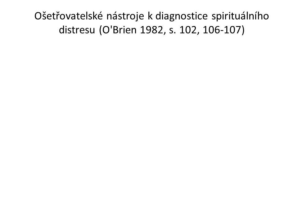 Ošetřovatelské nástroje k diagnostice spirituálního distresu (O Brien 1982, s. 102, 106-107)