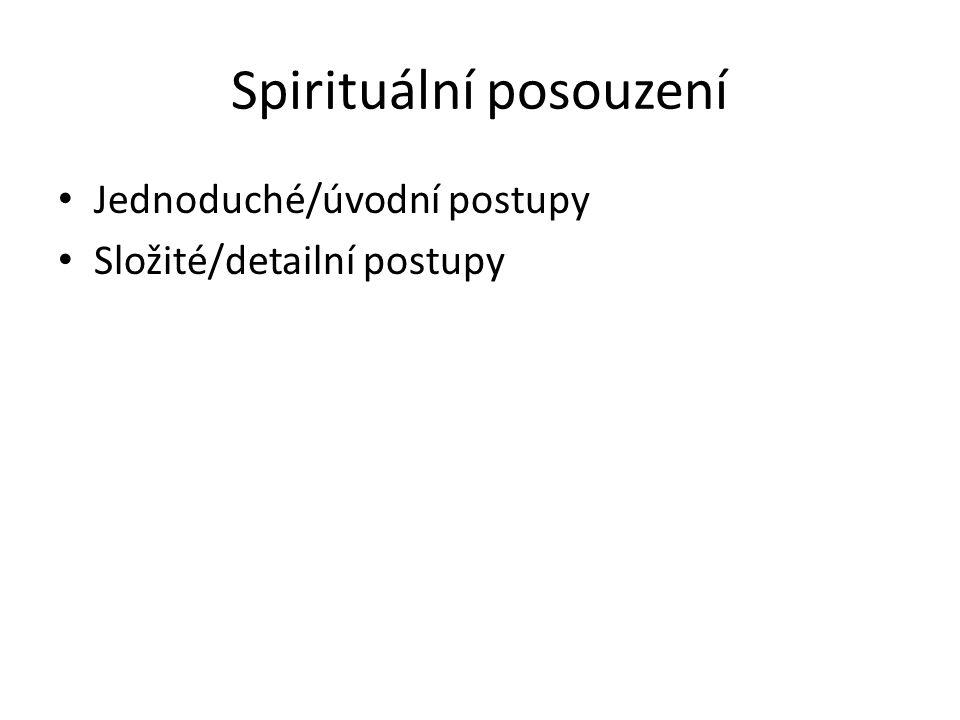 Spirituální posouzení Jednoduché/úvodní postupy Složité/detailní postupy