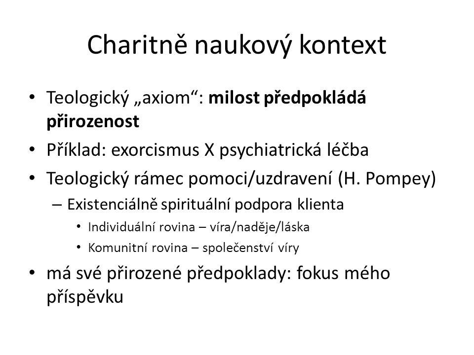 """Charitně naukový kontext Teologický """"axiom : milost předpokládá přirozenost Příklad: exorcismus X psychiatrická léčba Teologický rámec pomoci/uzdravení (H."""