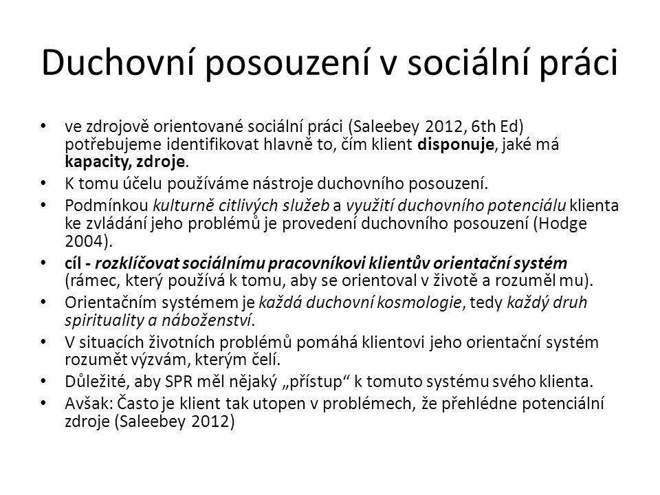 Duchovní posouzení v sociální práci ve zdrojově orientované sociální práci (Saleebey 2012, 6th Ed) potřebujeme identifikovat hlavně to, čím klient disponuje, jaké má kapacity, zdroje.