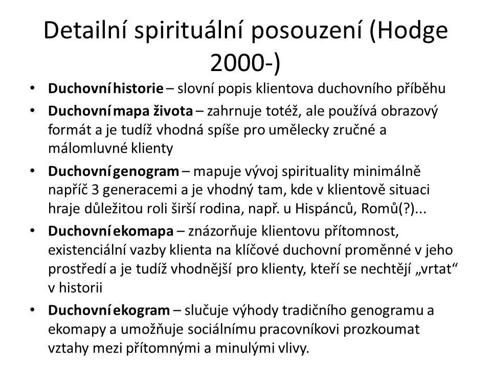 Detailní spirituální posouzení (Hodge 2000-) Duchovní historie – slovní popis klientova duchovního příběhu Duchovní mapa života – zahrnuje totéž, ale používá obrazový formát a je tudíž vhodná spíše pro umělecky zručné a málomluvné klienty Duchovní genogram – mapuje vývoj spirituality minimálně napříč 3 generacemi a je vhodný tam, kde v klientově situaci hraje důležitou roli širší rodina, např.