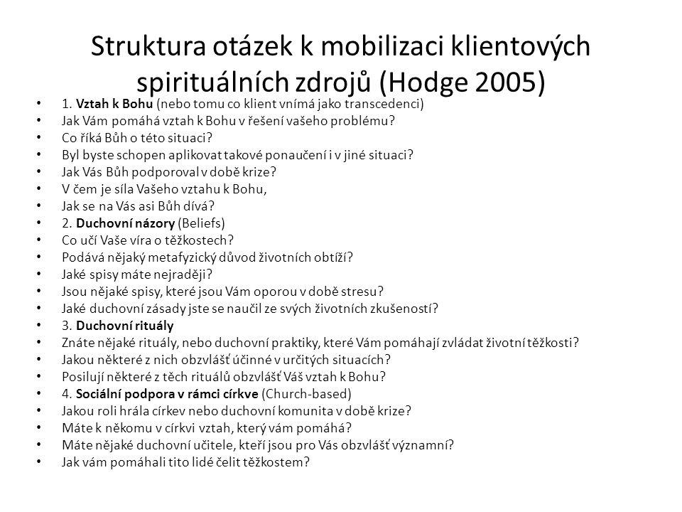 Struktura otázek k mobilizaci klientových spirituálních zdrojů (Hodge 2005) 1.