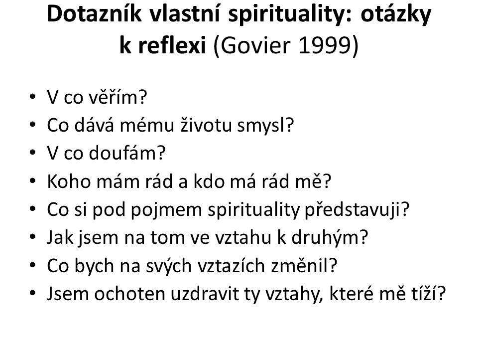 Dotazník vlastní spirituality: otázky k reflexi (Govier 1999) V co věřím.