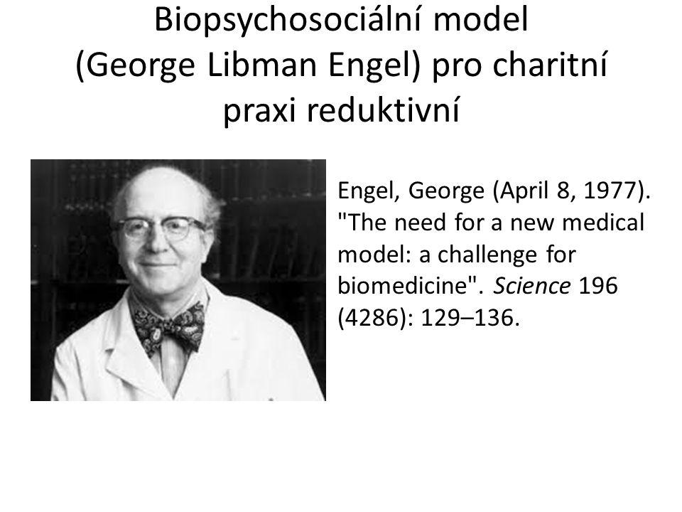 Biopsychosociální model (George Libman Engel) pro charitní praxi reduktivní Engel, George (April 8, 1977).