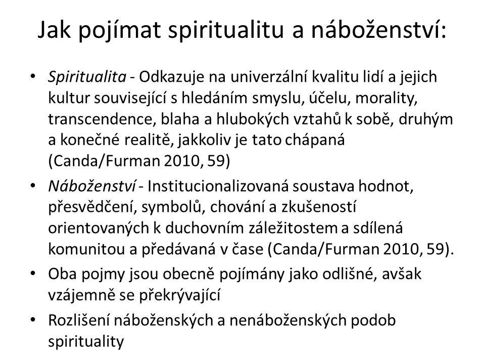 Jak pojímat spiritualitu a náboženství: Spiritualita - Odkazuje na univerzální kvalitu lidí a jejich kultur související s hledáním smyslu, účelu, morality, transcendence, blaha a hlubokých vztahů k sobě, druhým a konečné realitě, jakkoliv je tato chápaná (Canda/Furman 2010, 59) Náboženství - Institucionalizovaná soustava hodnot, přesvědčení, symbolů, chování a zkušeností orientovaných k duchovním záležitostem a sdílená komunitou a předávaná v čase (Canda/Furman 2010, 59).